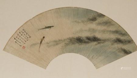 WU QINGXIA (1910-2008),TWO FISH FAN PAINTING