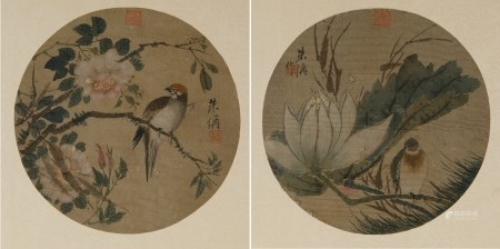 ZHU CHENG (1826-1900), TWO BIRD & FLOWERS PAINTING