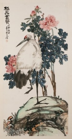 SHEN GUANG (1891-1950?), PEONIES AND CRANE