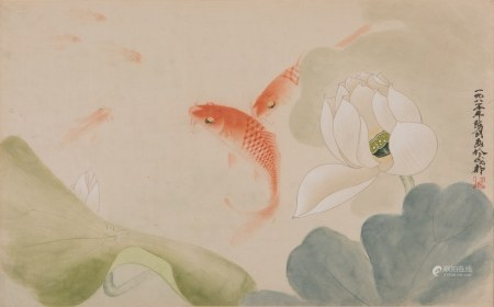 SIGNED CHEN JIAN, FRAMED CHINESE FISH PAINTING