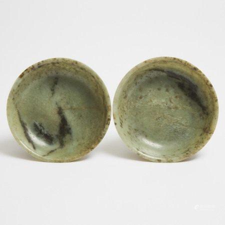 二十世纪早期 玉碗一对 嘉庆年制底款 A Pair of Mottled Celadon Jade Bowls, Jiaqing Mark, Early 20th Century