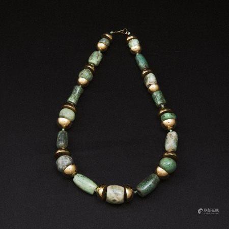 前哥伦比亚时期/约公元5世纪 古翡翠珠链一串  An Ancient Jadeite Beaded Necklace, Pre-Columbian, 5th Century, With 14K Yellow Gold Spacers, Circa 1970