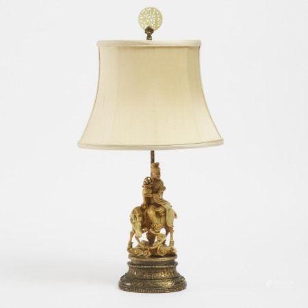 晚清 寿山石雕仕女摆件 A Chinese Soapstone Carved Figure Mounted as a Lamp, Late Qing Dynasty