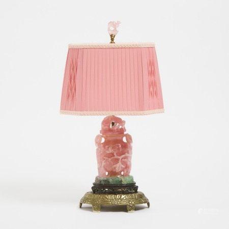 民国时期 粉晶雕花瓶 A Chinese Rose Quartz Covered Vase Mounted as a Lamp, Early to Mid 20th Century