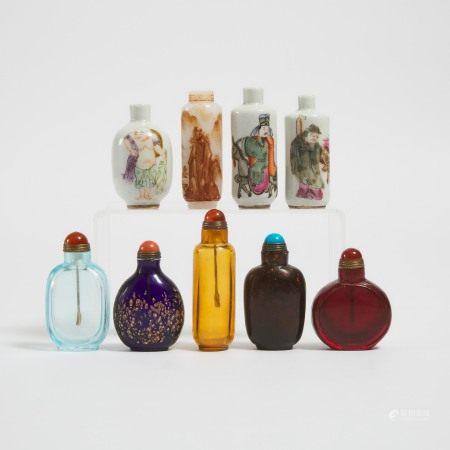 十九世纪及更晚 瓷器及料器鼻烟壶一组九件 A Group of Nine Porcelain and Glass Snuff Bottles, 19th Century and Later