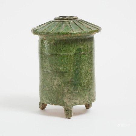 汉 铅绿釉陶塔 A Green-Glazed Pottery Model of a Granary, Han Dynasty (206 BC-220 AD)