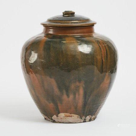 元/明 河南窑黑釉盖罐 A Large Henan Black and Russet Glazed Jar and Cover, Yuan/Ming Dynasty