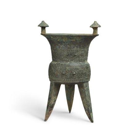 An archaic bronze ritual wine vessel (Jia), Middle Shang dynasty | 商中期 青銅饕餮紋斝