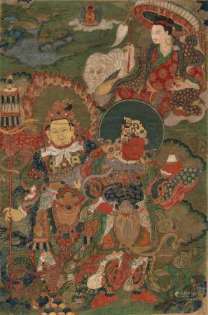 A THANGKA OF DHARMATALA, VAISHRAVANA, AND VIRUPAKSHA QING DYNASTY, 18TH CENTURY