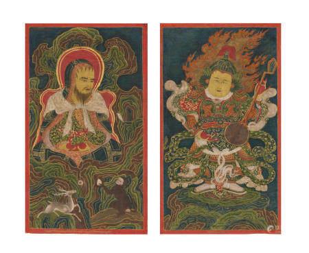 TWO THANGKAS DEPICTING ARHAT ABHEDA AND DHRITARASHTRA TIBET, 16TH CENTURY