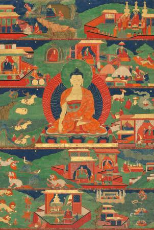 A THANGKA DEPICTING SCENES FROM THE PAST LIVES OF SHAKYAMUNI BUDDHA TIBET, CIRCA 18TH CENTURY