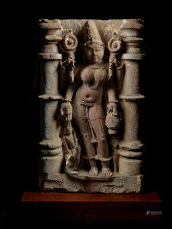 A SANDSTONE RELIEF PANEL OF A GODDESS NORTHERN INDIA, 10TH/11TH CENTURY