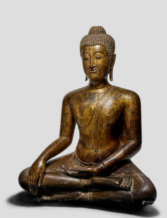 A GILT COPPER ALLOY FIGURE OF BUDDHA  THAILAND, AYUTTHAYA PERIOD, 16TH CENTURY