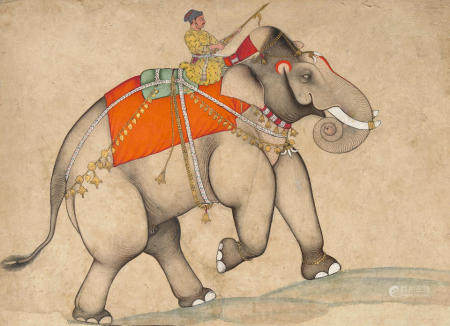 A ROYAL ELEPHANT AND HIS MAHOUT ISARDA OR SAWAR, CIRCA 1700-20