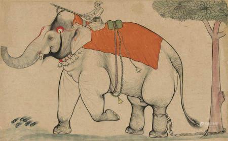 A ROYAL ELEPHANT AND MAHOUT KOTAH, LATE 18TH CENTURY