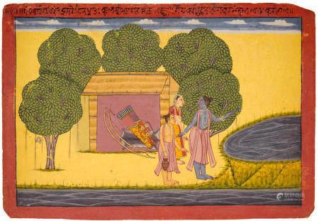 "AN ILLUSTRATION FROM THE ""SHANGRI"" RAMAYANA: RAMA, SITA, AND LAKSHMANA AT THE HERMITAGE IN PANCHAVATI JAMMU (BAHU), CIRCA 1710-1740"