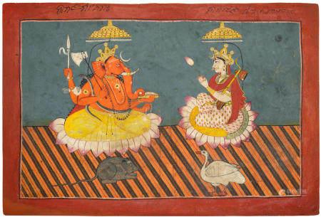 A PAINTING OF GANESHA AND SARASVATI MANDI, 1760-80
