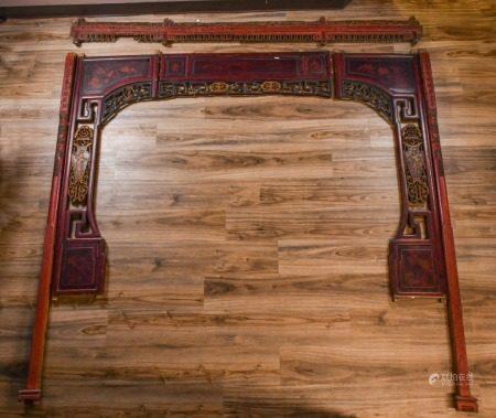 清 榆木花雕板床連架