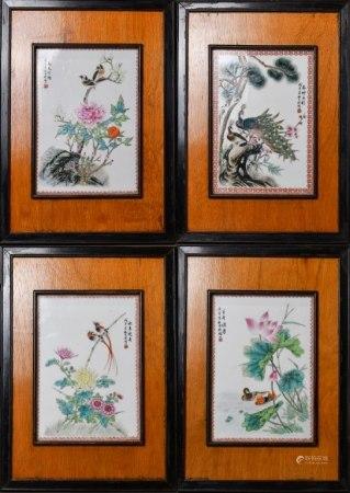 粉彩花鳥瓷板掛屏四幅 1978年