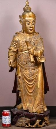 19世紀 鎏金木雕將軍立像