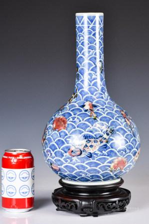 18世紀 青花釉裡紅長頸瓶連座