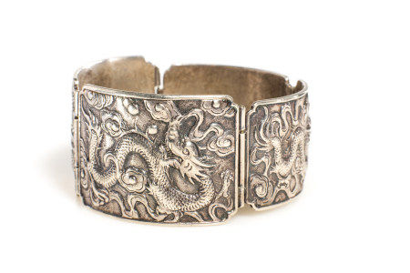 CHINESE EXPORT SILVER DRAGON BRACELET, 65g