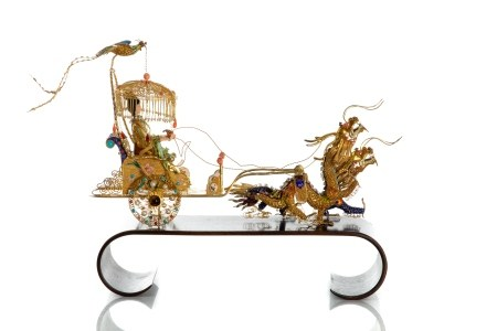 CHINESE EXPORT SILVER CHARIOT ON HARDWOOD STAND