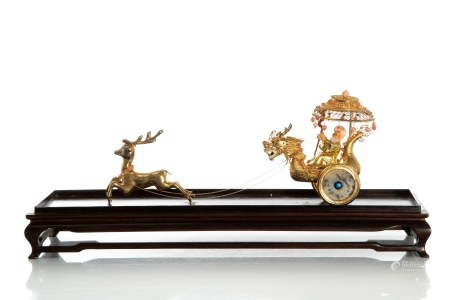 CHINESE EXPORT SILVER CHARIOT IN DISPLAY CASE