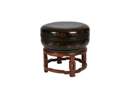 BLACK LACQUER CHINESE WEDDING BOX ON STAND