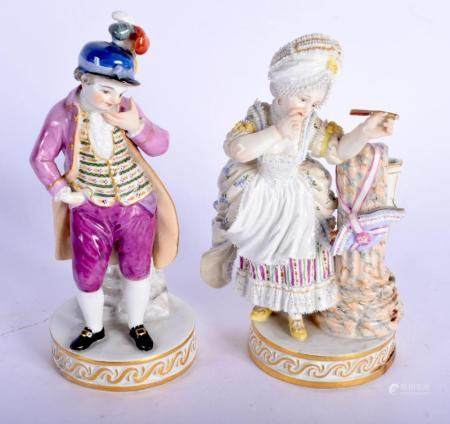 A PAIR OF 19TH CENTURY MEISSEN PORCELAIN FIGURES modelled upon a scrolling gilt bases. 16.5 cm high.