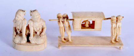 A 19TH CENTURY INDIAN CARVED IVORY FIGURE OF TWO BUDDHISTIC MALES together with a similar processional ivory C1900. Largest 16 cm wide. (2)