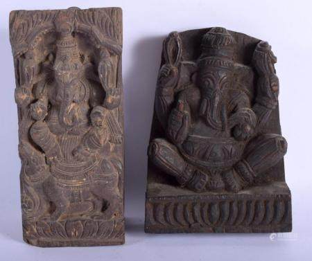TWO 19TH CENTURY MIDDLE EASTERN CARVED INDIAN BUDDHISTIC PANELS depicting figures upon beasts. Largest 25 cm x 10 cm. (2)