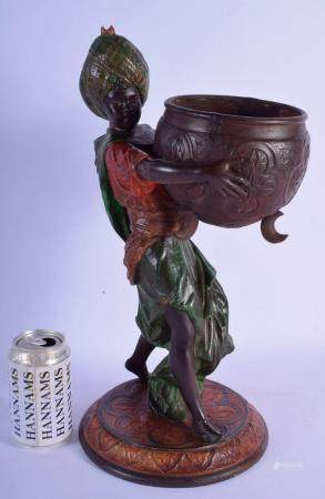 A 19TH CENTURY EUROPEAN PAINTED SPELTER FIGURE OF A MALE modelled wearing a turban holding a censer. 44 cm x 15 cm.