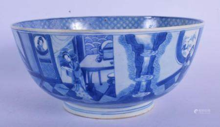 A 17TH CENTURY CHINESE BLUE AND WHITE PORCELAIN BOWL bearing Kangxi marks to base, painted with figures within interiors. 18 cm x 9 cm.