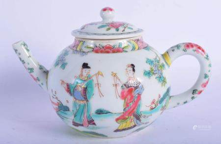 A 19TH CENTURY CHINESE FAMILLE ROSE PORCELAIN TEAPOT AND COVER Yongzheng style, painted with figures. 14 cm wide.