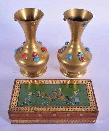 A PAIR OF INDIAN TURQUOISE AND CORAL JEWELLED VASE together with a similar box. (3)