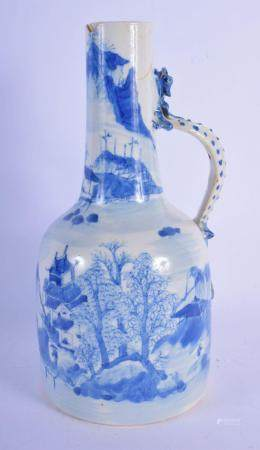 A RARE 18TH CENTURY CHINESE BLUE AND WHITE PORCELAIN JUG Qianlong/Jiaqing, painted with landscapes. 26.5 cm high.