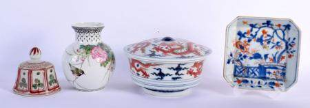 A 17TH/18TH CENTURY CHINESE IMARI SQUARE FORM DISH Kangxi/Yongzheng, together with a bird vase & an unusual dragon bowl & cover. Largest 17 cm diameter. (3)