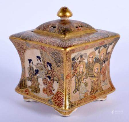A LATE 19TH CENTURY JAPANESE MEIJI PERIOD SATSUMA KORO AND COVER painted with figures. 9 cm x 6.5 cm.