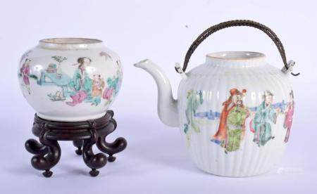 A 19TH CENTURY CHINESE FAMILLE ROSE PORCELAIN BRUSH WASHER Guangxu, together with a similar ribbed teapot. Largest 12 cm wide. (2)