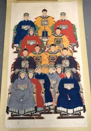 Chinese School (19th Century) Rare Family Tree of Jin Hai Xi, Huang En Chong Ci (Emperors Grace), Watercolour. Image 166 cm x 90 cm.
