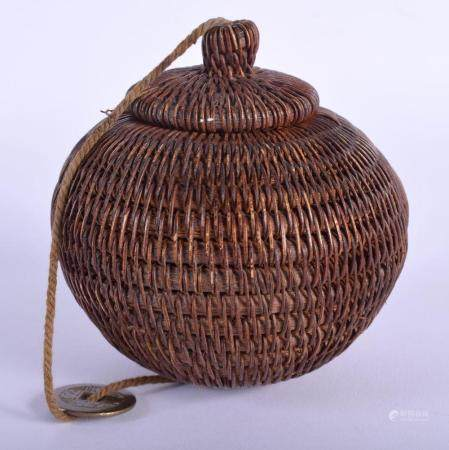 A RARE EARLY 20TH CENTURY CHINESE CARVED WICKER BOX AND COVER Late Qing/Republic, possibly a cricket cage. 11 cm x 8 cm.