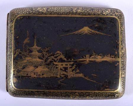 AN EARLY 20TH CENTURY JAPANESE MEIJI PERIOD MIXED METAL KOMAI STYLE CIGARETTE CASE decorated with Mt Fuji. 10 cm x 8 cm.