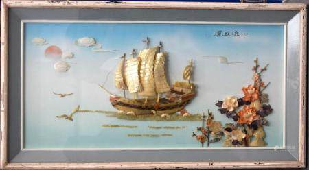 A LARGE MID C20TH CHINESE ADVERTISING DISPLAY WITH BOATS AND FLOWERS. 110 cm x 60 cm.