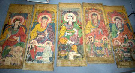 Tibetan/Chinese School (19th Century) 5 x Painted Thangka, assorted figures in various pursuits. 180 cm x 72 cm. (5)