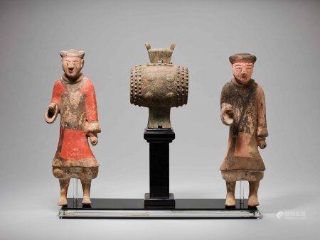 漢 陶彩繪擊鼓雙俑與青銅鼓