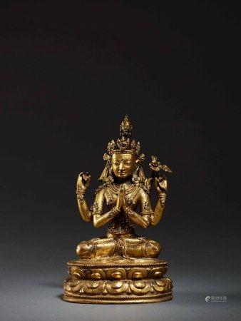 16世紀 銅鎏金四臂觀音坐像