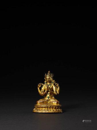 元 銅鎏金四臂觀音像