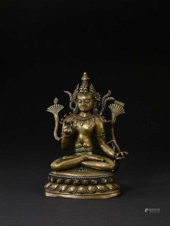 元 藏西合金銅錯銀文殊菩薩像