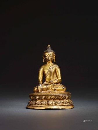 17世紀 銅鎏金釋迦牟尼坐像